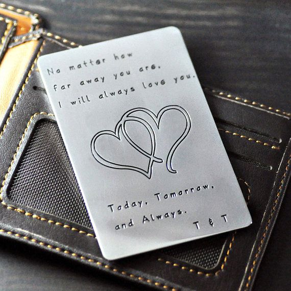 Personalized wallet insert card,heart in hear,alloy, valentines gift,hand stamp words