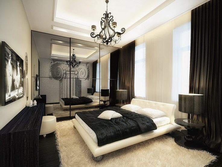 Bedroom  Black And White Bedroom With Black Long Curtain Plus Black Blanket    Masculine Black and White Bedroom Interior Design for Bachelor Pad159 best Interior Design Ideas  Kitchens  Bedrooms  Bathrooms  . Long Bedroom Design. Home Design Ideas