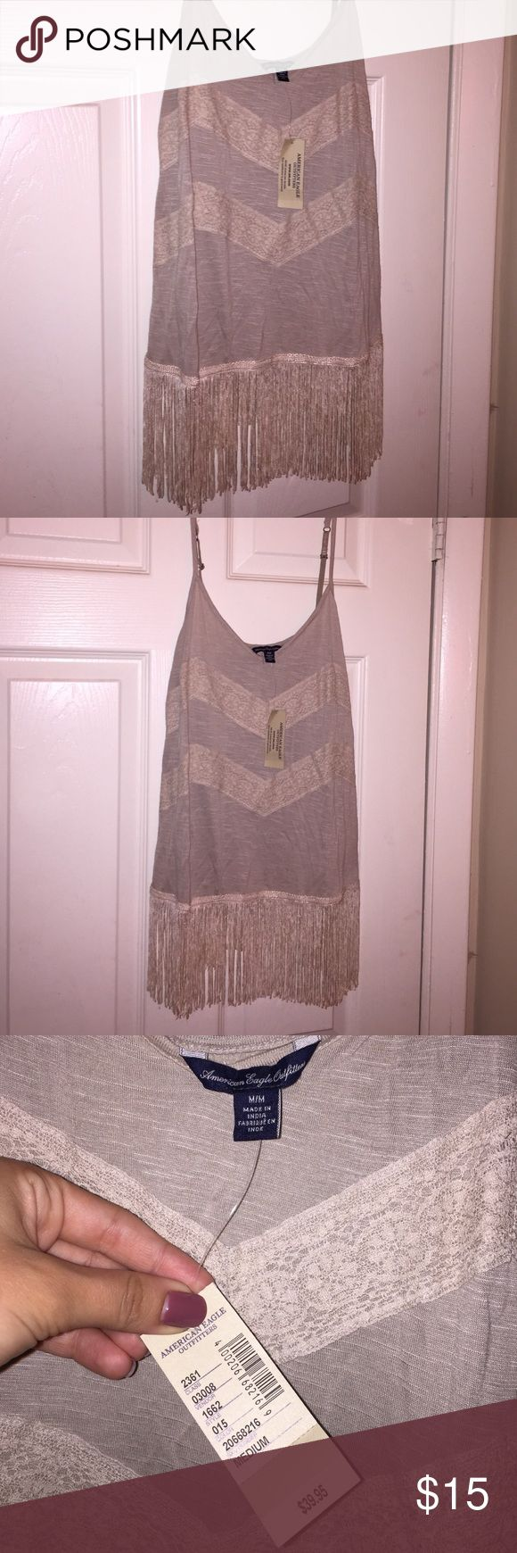 American Eagle fringe tank top NEW AE fringe tank top with adjustable spaghetti straps and lace detailing. Never before worn American Eagle Outfitters Tops Tank Tops