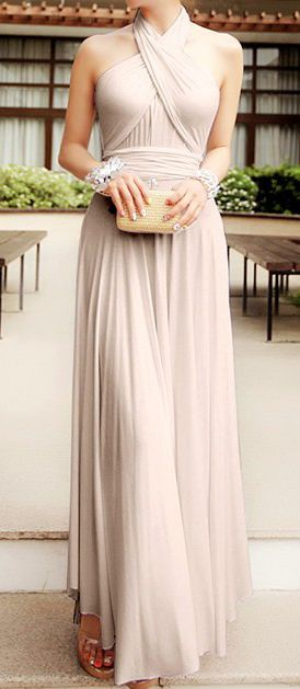 vestido largo nude