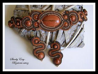 #sutasz #soutache Komplet biżuterii sutasz z kamieniem piasek pustyni...Skarby Ewy... Biżuteria sutasz