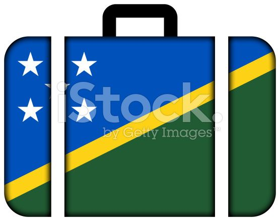 Suitcase with Solomon Islands Flag royalty-free stock photo