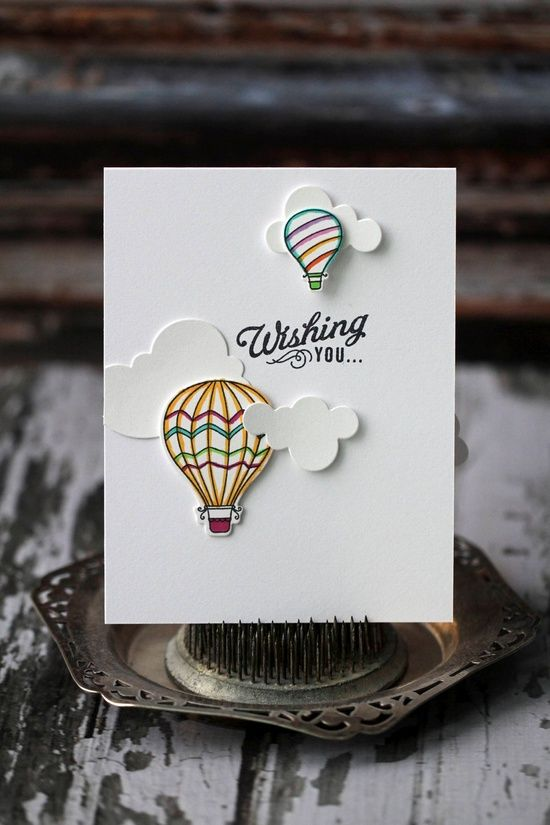 Birthday pop-up card with clouds and hot air