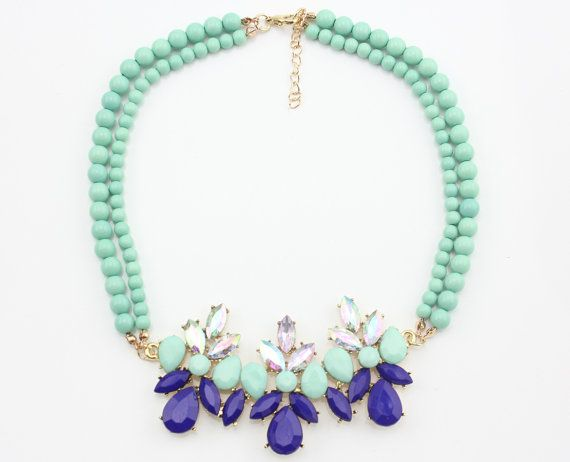 Statement Necklace, Neon Statement Necklaces, Blue Statement Necklace