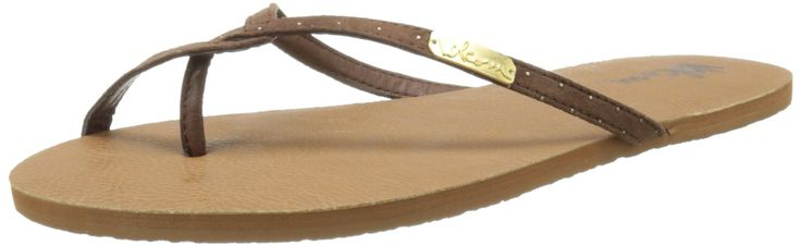Volcom Women's Going Out Dress Sandal, Brown, 7 M US. Simple synthetic leather strap with unique toe loop detail. Synthetic leather lining and footbed. Metal logo plate. Durable ethylene vinyl acetate outsole.