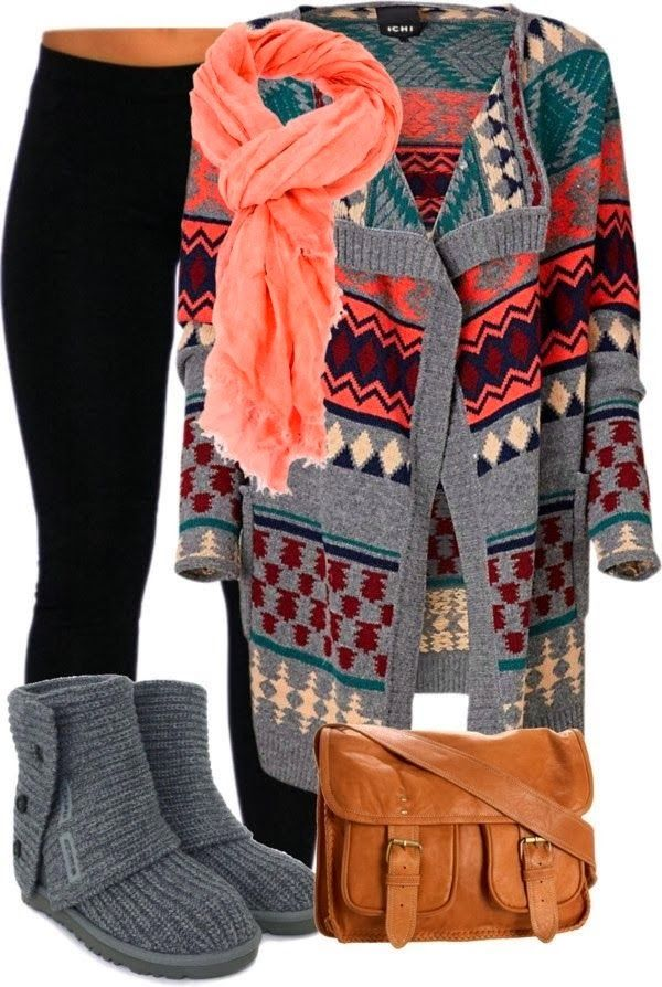 Oversized Cardigan, Black Leggings, Amazing Pink Scarf, Shoes and Brown Handbag