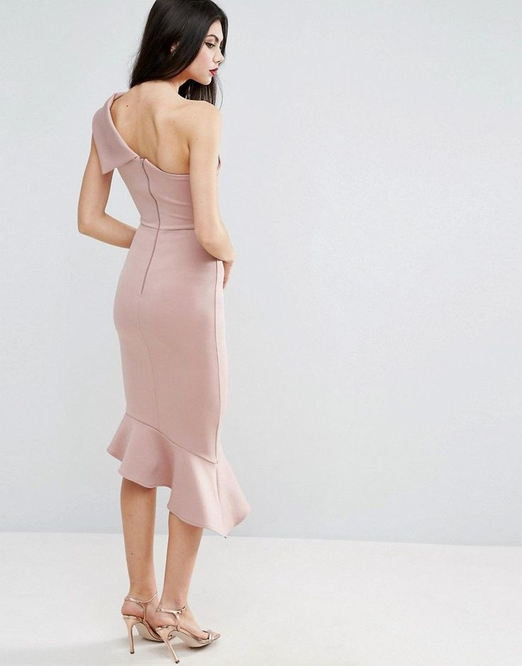 ASOS TALL Scuba One Shoulder Peplum Midi Dress - Pink