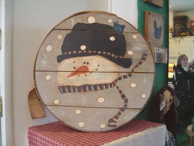 Painted Cheese Boxes | Primitive Snowman Head Cheese Box