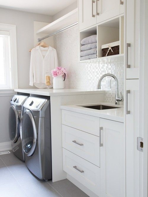 Appealing Laundry Room Ideas Bathroom Interior Decorations With Double Silver Washing Machine Along Sink And Chrome Arch Faucet Also White Drawer And Wall Mounted Shelf Cabinet Also Clothes Hanger As Well As Utility Rooms Designs Plus Small Laundry Sink of Stunning Great Laundry Room Designs from Interior Ideas