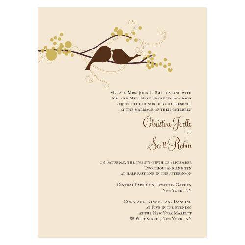 Love Birds Wedding Invitations (Set Of 4   4 Colors)