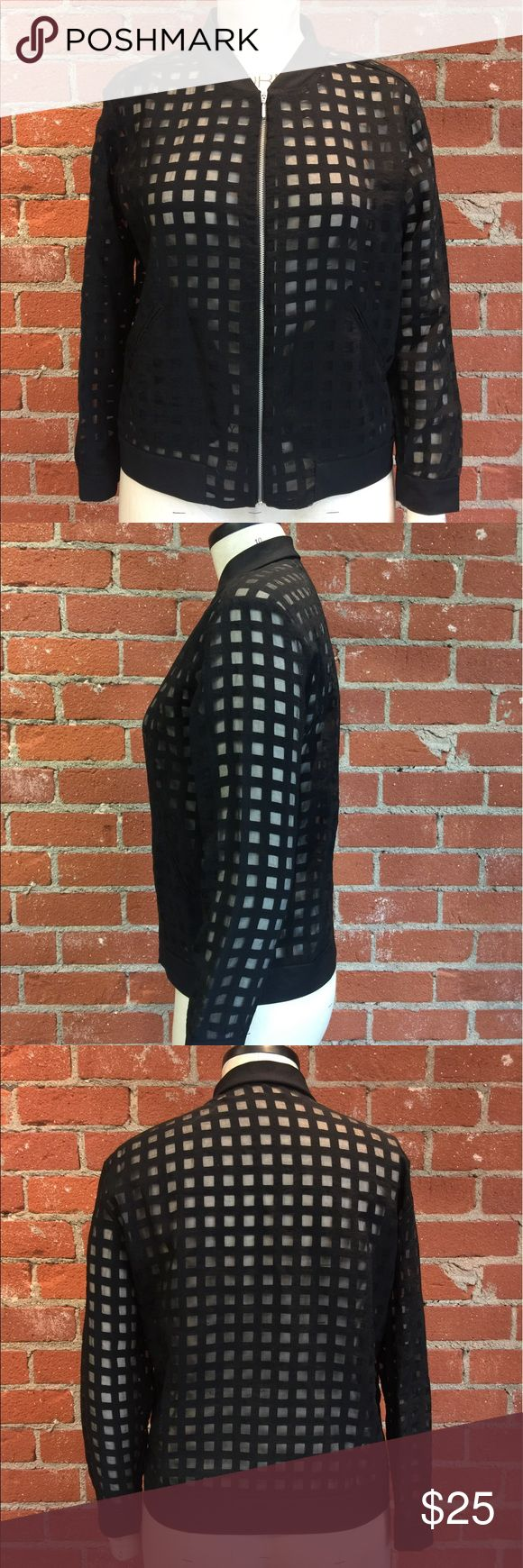 Zara sheer bomber jacket Zara sheer bomber jacket. Black