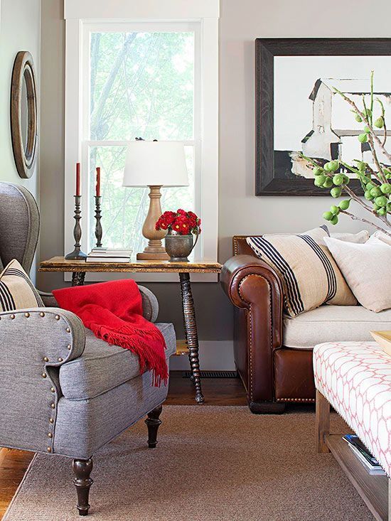 Loving al textures and colors of this space. Check out more ways to make your home cozy: http://www.bhg.com/decorating/seasonal/fall/top-ways-to-cozy-up-your-home/