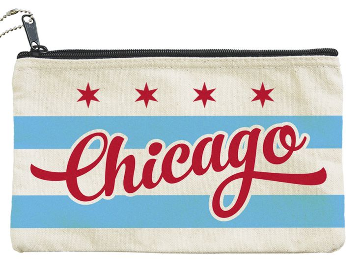 Chicago Bag or Pouch featuring a Chicago Flag Design - travel bag, Chicago souvenir, make-up bag - great gift for any age.  Made in the USA from cotton canvas.