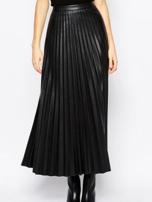Leatherette Pleated Skirt – Maxi | Snazzy Clozet