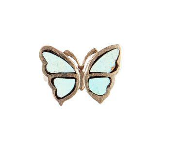 Кольцо бабочка бирюза