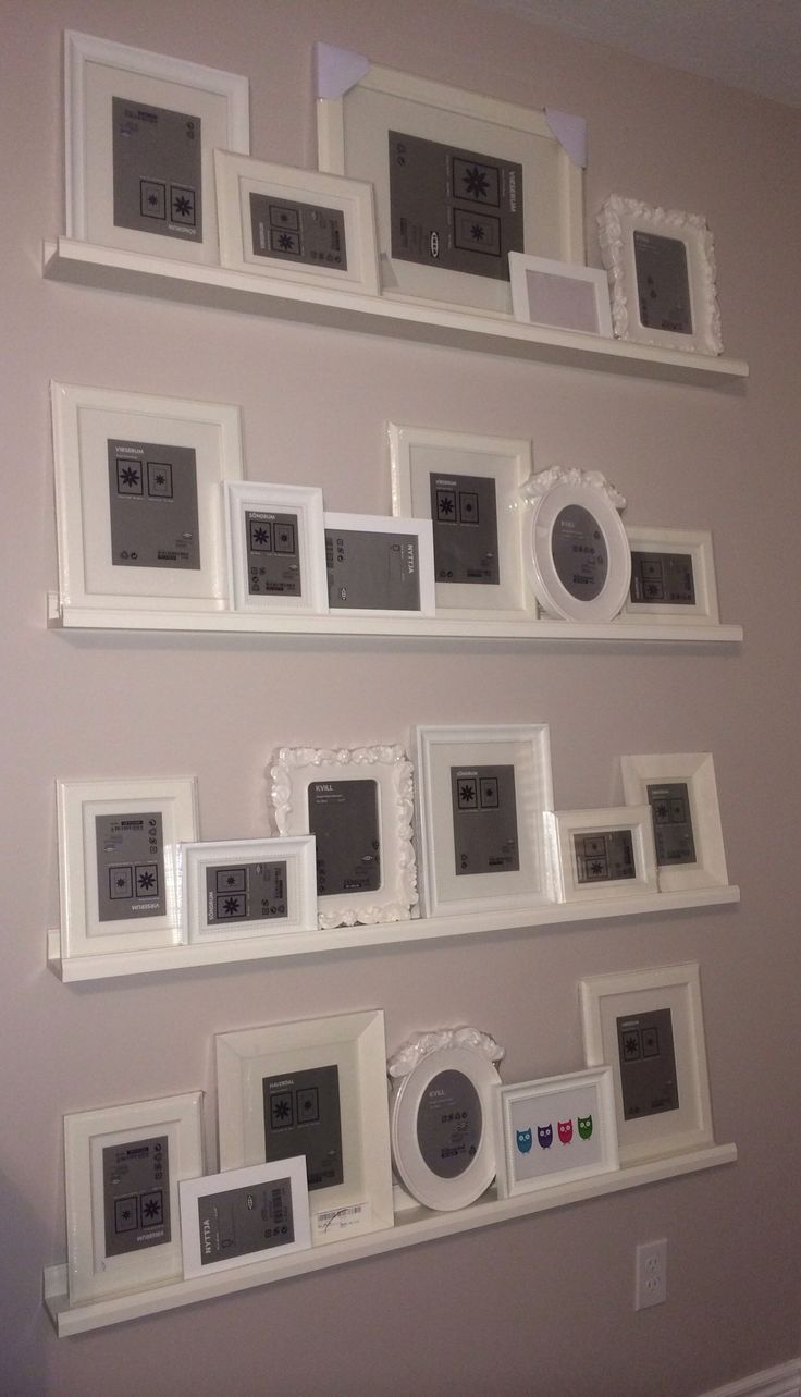 Gallery wall – ikea picture ledges & frames. Just need to add the pics