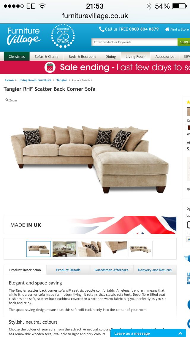 Furniture village tangier rhf scatter back corner sofa for F furniture village