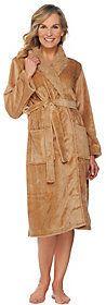 LOGO by Lori Goldstein Oversized Plush Spa Robe with Faux Fur Collar