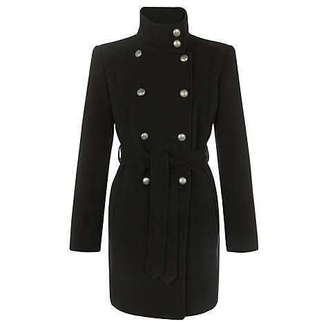 Buy John Lewis Ella Button Detail Coat, Black Online at johnlewis.com