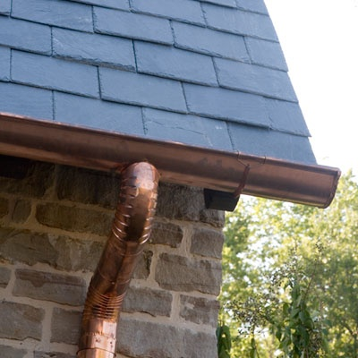 Copper Half Round Gutters, Vermont Slate Roof. Love.