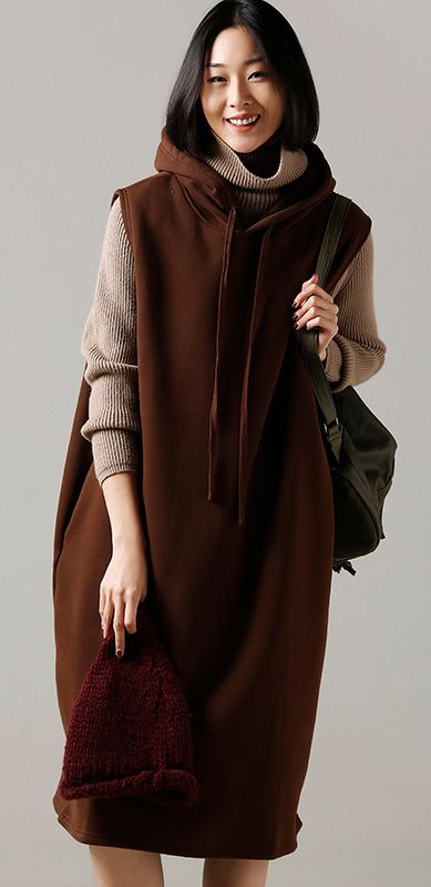 97b4b960fc Oversized Sweater dress outfit Beautiful hooded khaki Ugly knitted tops  hooded