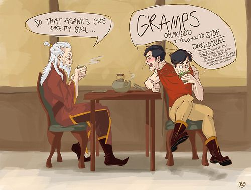 Grandpa Zuko and General Iroh II sitting down for their usual tea together. Turns out Iroh II is just as smooth as his grandpa was back in the day.