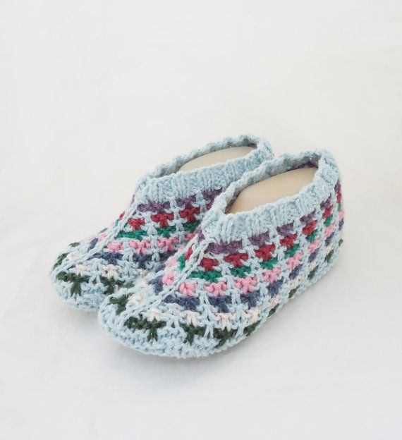 Knitted Socks / Slippers in Blue Hand Knitted Women by evefashion