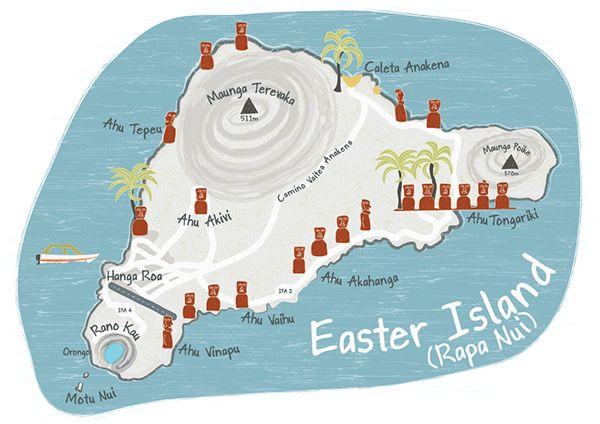 Illustrated map of Easter Island/ Rapa Nui - Bek Cruddace