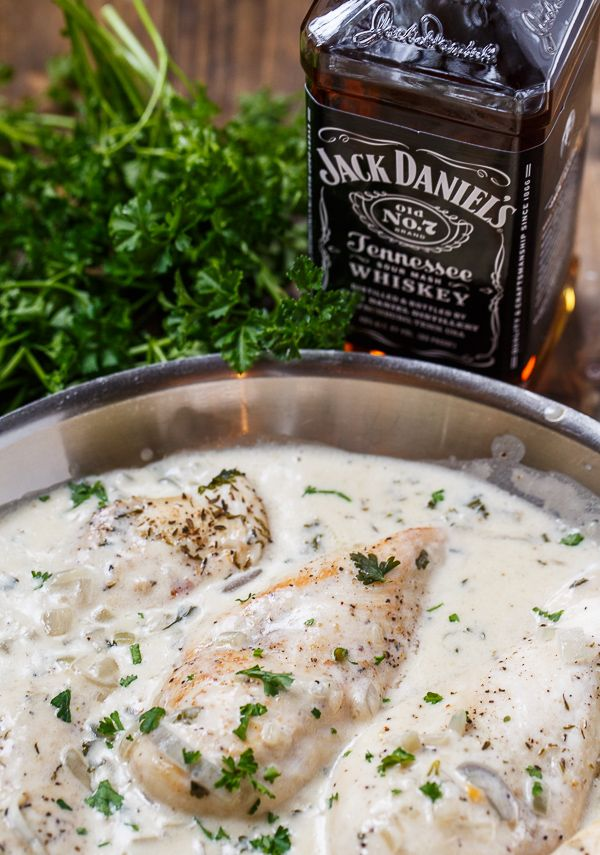 "CHICKEN in JACK DANIELS CREAM SAUCE - ""The sauce cooks up thick and rich and the Jack Daniels gives it an awesome flavor that's kind of hard to describe. It has a half cup of whiskey, but the taste isn't overpowering at all and really enhances the flavor of the cream."""