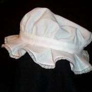 A popular hat for women and girls during the Colonial period was the mob cap. Mob caps can be made from a circle of fabric which has been gathered along a smaller circle with a basting stitch or by sewing an elastic band along the smaller inner circle. The result is a puffy, rounded cap just large enough to cover a mop of the starch-stiffened...