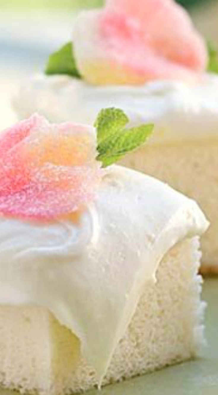 Heavenly Angel Food Cake ~ The rich, moist texture of this divine angel food cake is unlike any other. Made from scratch in minutes, it's spread with frosting that's a lemon lover's dream...  Cut the finished cake into single-serve portions for petitfours or frost the whole cake to make a sheet cake.