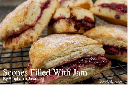 nal way to eat cream scones is to split them in half and then spread each half with jam and clotted cream. To make them more convenient, I decided to fill the scones with the jam before baking, and then top