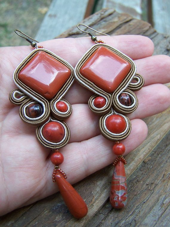 Soutache Jewelry Red Jasper Earring Autumn by PanitaJewellery, $75.00