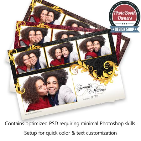 A photo booth template design featuring an elegant floral division between a luxurious damask pattern and white soften by a subtle gradient. The background features a spot light effect providing a dramatic feel to the design. Each photo is framed is gold frames adorned with with floral accents. The event information is written in a beautiful script font with a subtle embellishment behind.