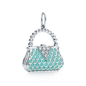 Handbag charm in platinum with diamonds and Tiffany Blue® enamel finish.    For my love of purses.