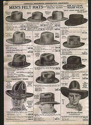 1926 AD Mens Felt Hats New Black Hawk Frontier Shape