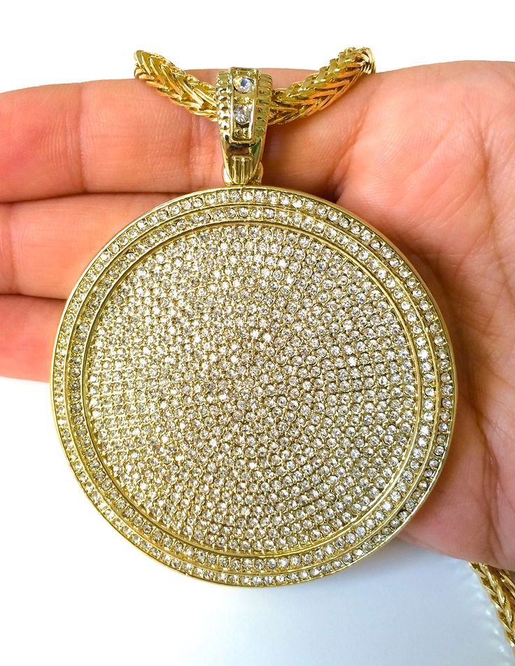 """Mens Iced Out Hip Hop Gold Round Cz Medallion Pendant 36"""" Franco Chain Necklace"""