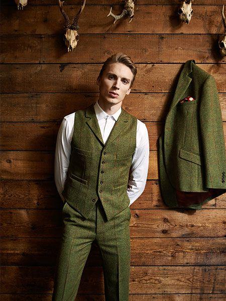Three Piece Tweed Suit. Tweed Waistcoat with Lapels.  tweed suit wedding, tweed suit groom, tweed suit men