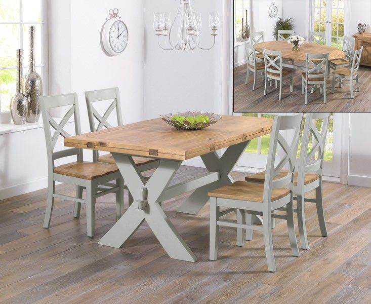 Buy the Bordeaux 165cm Oak and Grey All Sides Extending Dining Table with Cavendish Chairs at Oak Furniture Superstore