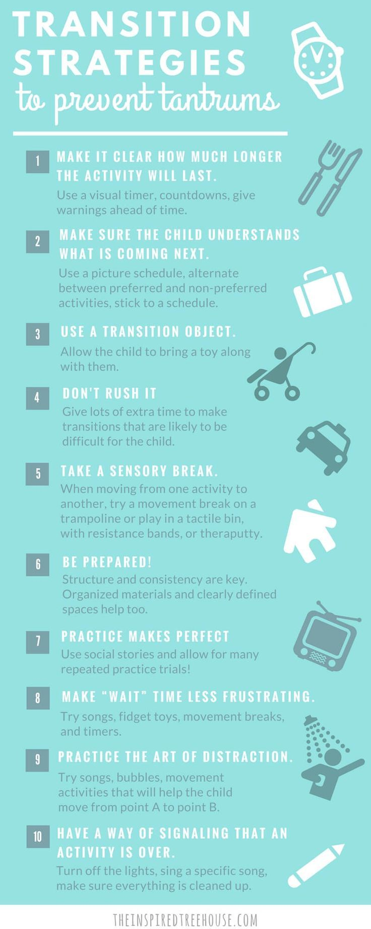 Prevent temper tantrums and emotional outbursts from your kid with these transition strategies. These magic tricks help kids cope with moving from one activity to another, such as when it's time to leave the park or to clean up toys. Every parent needs this awesome list!