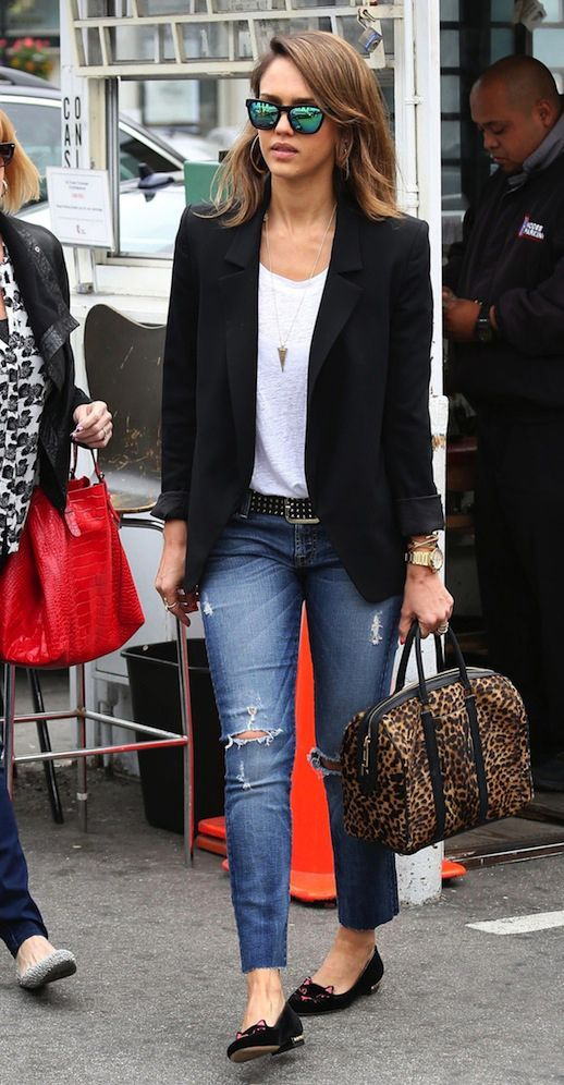 Elegant black blazer & Jessica Alba with black ballerina flats, jeans, white t-shirt and sunglasses. What other basics should you have in your wardrobe? >>> http://justbestylish.com/summer-basics-you-should-have-in-your-wardrobe/