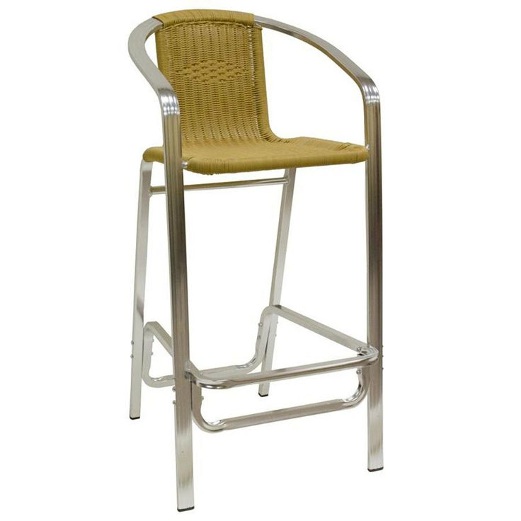American Tables Seating BS Aluminum Bar Stool with Synthetic Bamboo Back and Seat