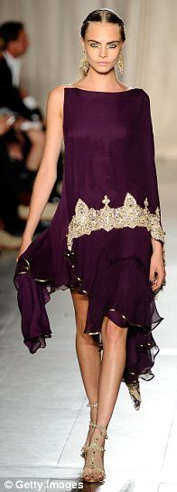 Indian-inspired plum dress with gold  embroidery | Marchesa | on Cara Delevingne