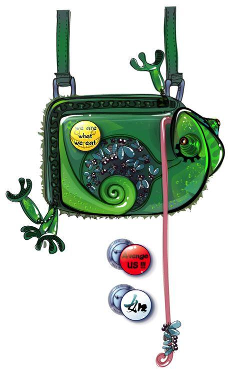 Handbag - Chameleon and flies