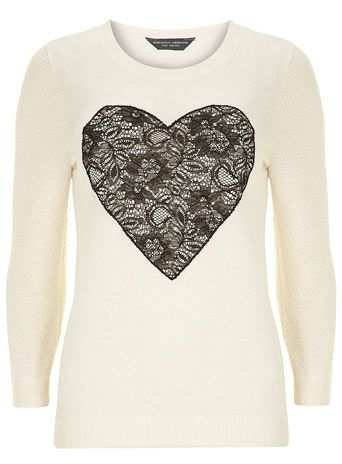 Tall ivory lace heart jumper. £22.