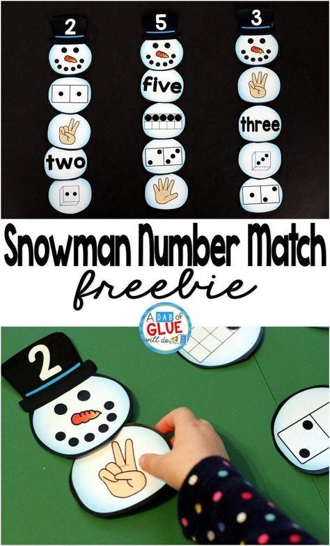 Free Snowman Number Match. Great winter math center! Perfect for preschool, kindergarten, and first grade students.