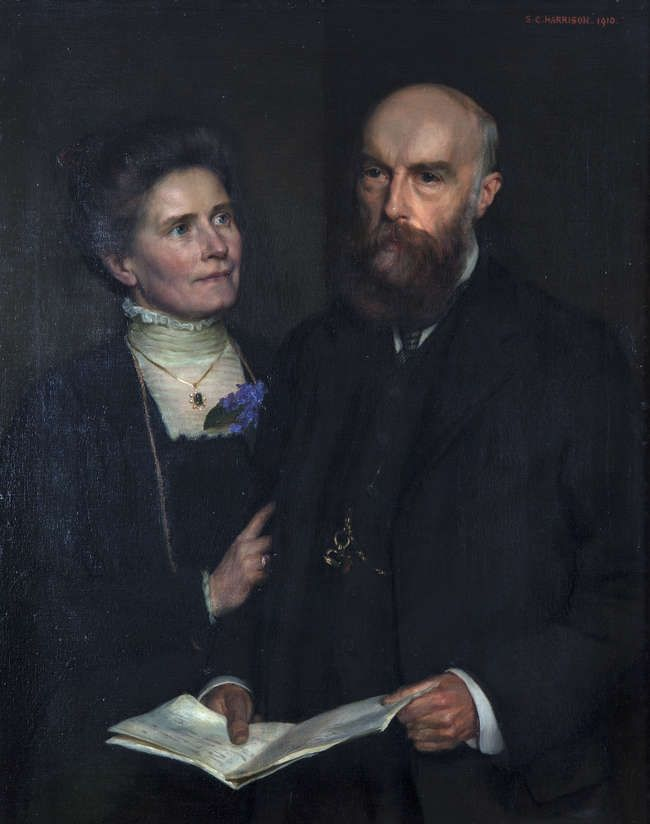 LOT:25 | SARAH CECILIA HARRISON RHA (1863-1941) Blayney R.J. Balfour and Madeline, his Wife, of Townley Hall, Drogheda Oil on canvas, 91 x 73cm Signed and dated 1910 Exhibited: The RHA Annual Exhibition 1911, Cat. No.26 Provenance: Important Irish Art sale, t
