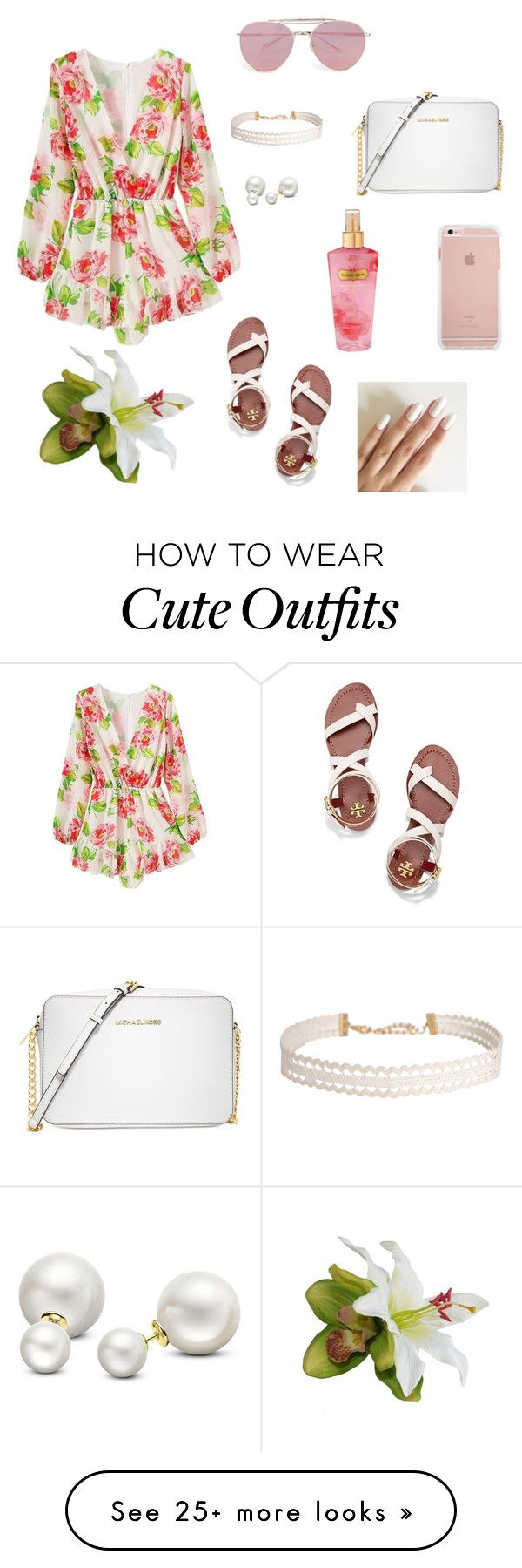 """""""Cute summer romper outfit 3"""" by cheleniak on Polyvore featuring Boohoo, Tory Burch, Michael Kors, Humble Chic, Allurez and Victoria's Secret"""