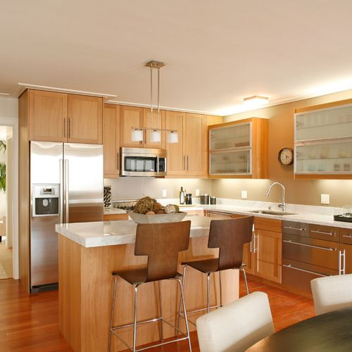If I did white backsplash, it would look like this ... on Light Maple Cabinets With White Countertops  id=51909