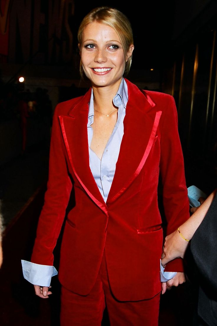 30+ Times '90s Gwyneth Paltrow Was Our Style Crush #refinery29  http://www.refinery29.com/2016/03/106619/gwyneth-paltrow-lookbook-throwback-90s-fashion#slide-16  MTV Video Music Awards, 1996Wearing a red velvet Tom Ford for Gucci suit. Holy hell. Looking cooler than anyone ever did. ...